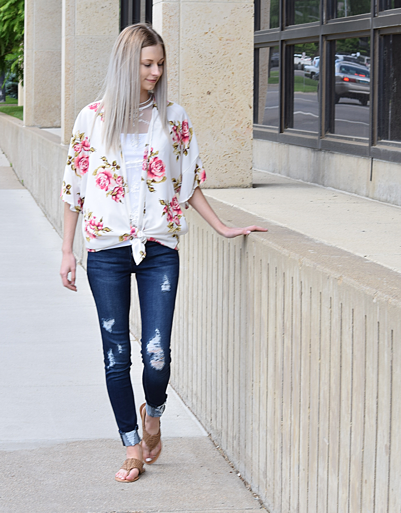 Floral Cardigan With Sleeve Ruffle