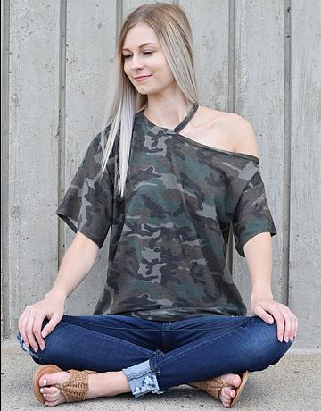 Camo Print Cutout Shoulder Top