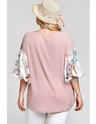 Dusty Pink Thermal Body Floral Bubble Sleeves