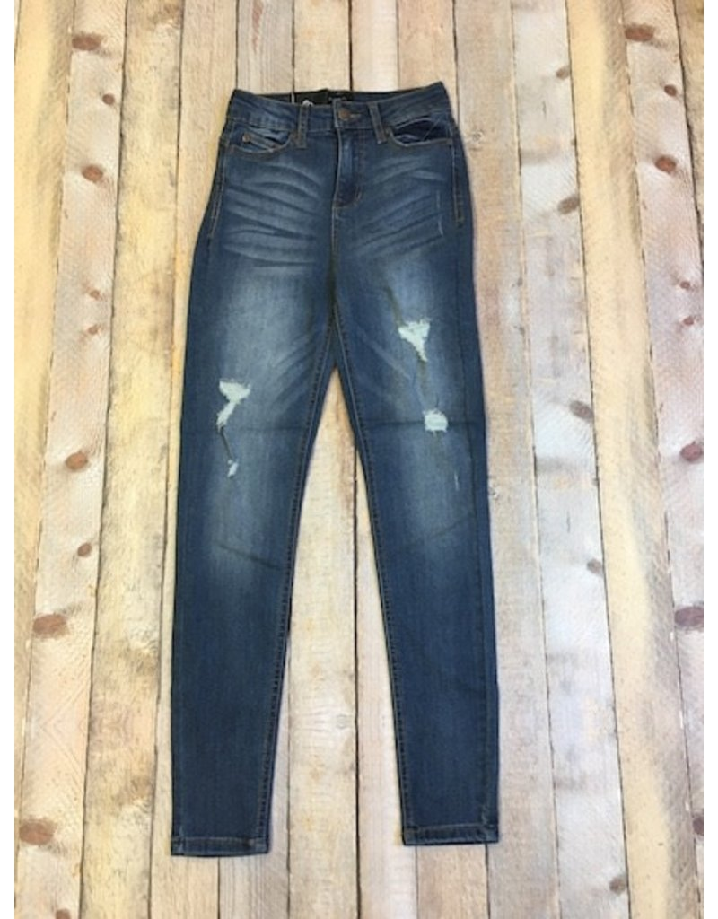 Medium Wash High Rise Distressed Jeans