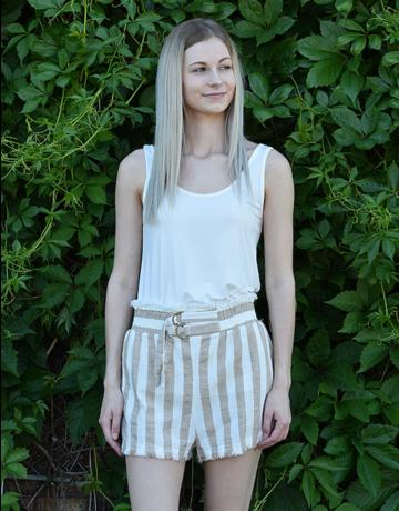 Striped High waisted shorts W/ Belt