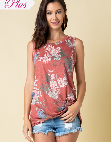Floral Sleeveless Knot Front Top