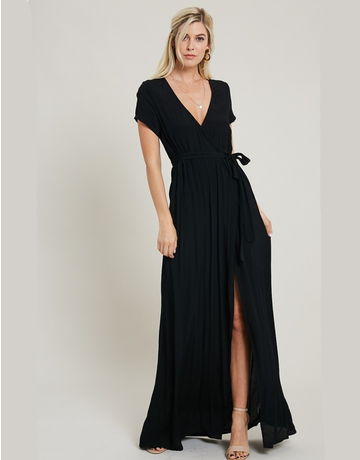 Solid Woven Wrap Maxi Dress