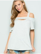 French Terry Cutout Front Top