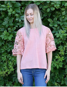 Floral Lace Sleeve Cotton Top