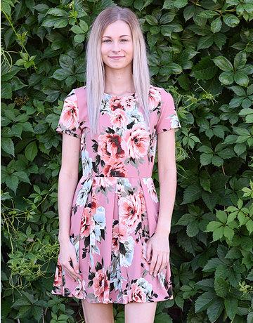 Floral Short Sleeve Pleated Dress
