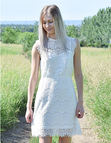 Lace Rectangle Open Back Dresss