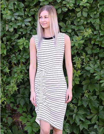 Rouched Striped Sleeveless Midi Dress