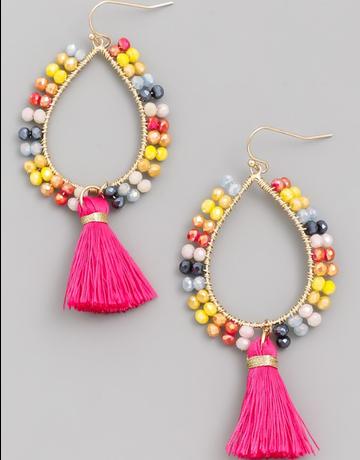 Beaded Oval Tassel Drop Earrings