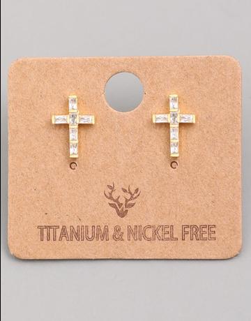Mini Cross Stud Earrings