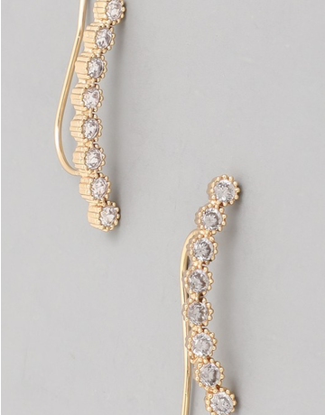 Studded Curved Bar Earring