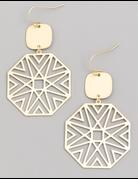 Metallic Octagon Drop Earrings