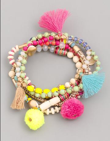 Bead Pom Tassel Bracelet Set