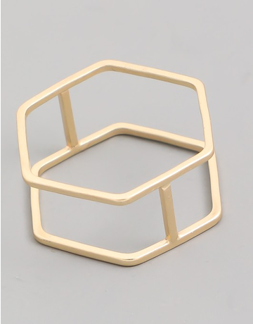 Double Band Hexagon Ring