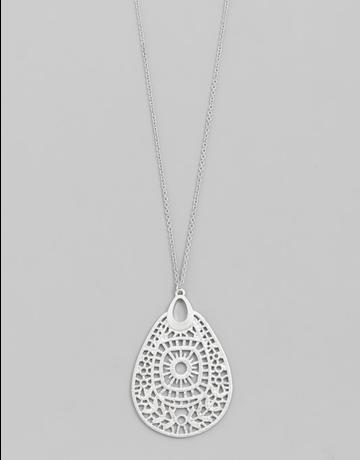 Filigree Teardrop Pendant Necklace