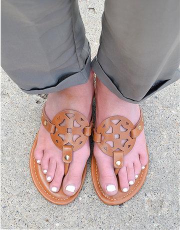 Leather Emblem Flat Sandals