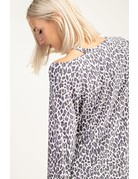 Matching cheetah top with shoulder cut out