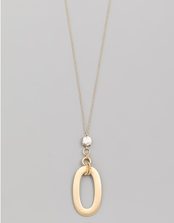 Circle Stone Oval Pendant Necklace