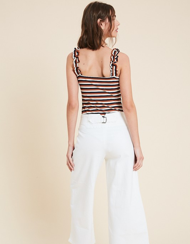 Multi Stripe Ruffle Strap Body Suit