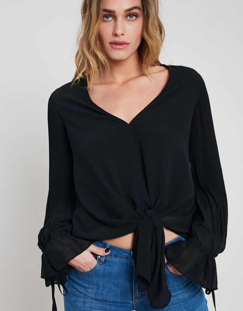 V-Neck Blouse w/ Tie and Accordian Sleeve