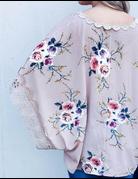 Floral Print Lace Trim Kimono Poncho