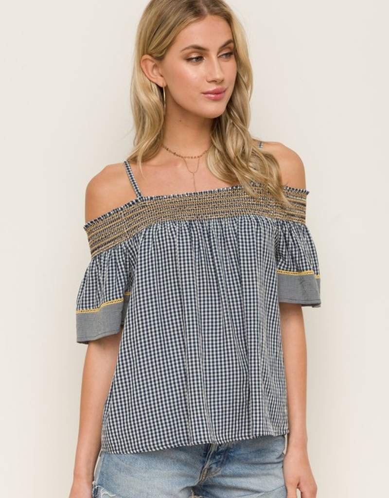 Mixed Gingham Off the Shoulder Top