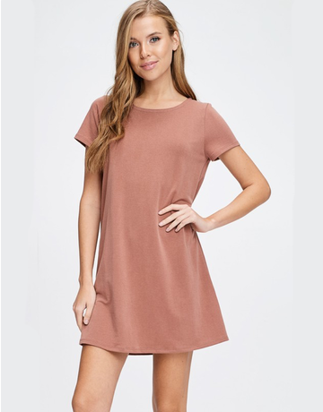 Solid Knit Dress With Back Zipper