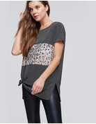 Striped Knit Top With Cheetah Print