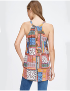 Sleeveless Print Knit Top With Keyhole