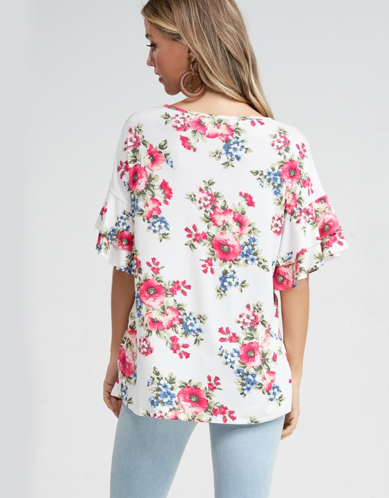 Tiered Ruffle Sleeves Floral Top