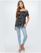 Off The Shoulder Print Woven Top