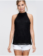 Sleeveless Lace Mock Neck Woven Top