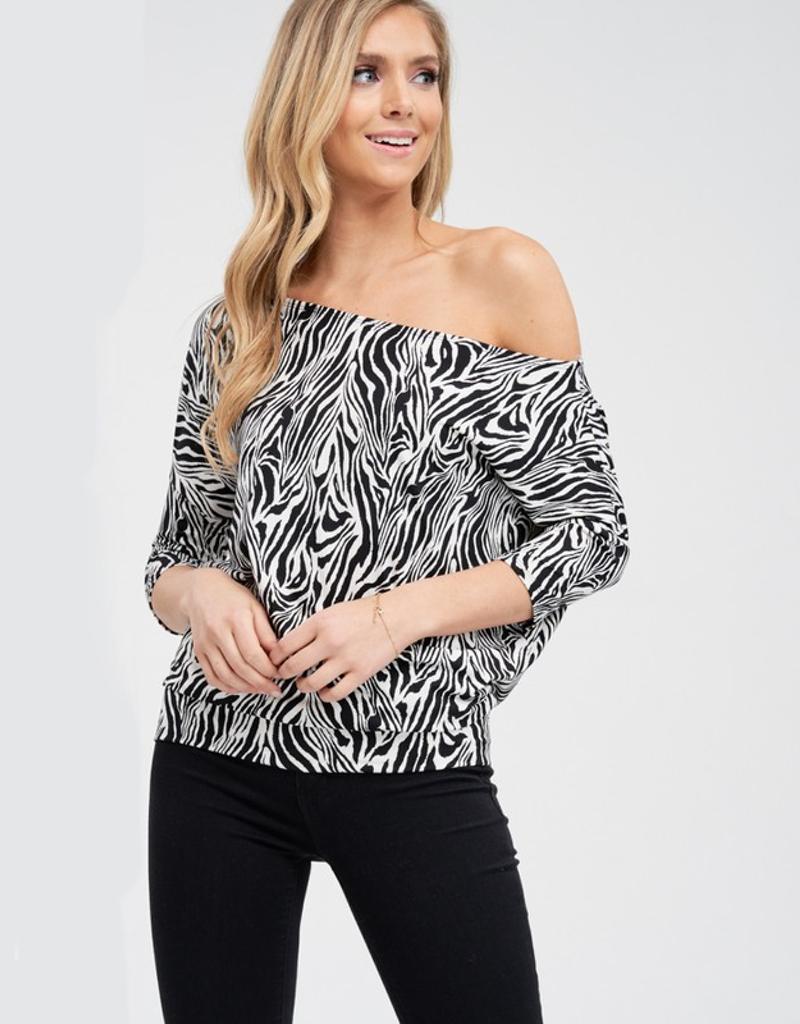 Off The Shoulder Zebra Print Knit Top
