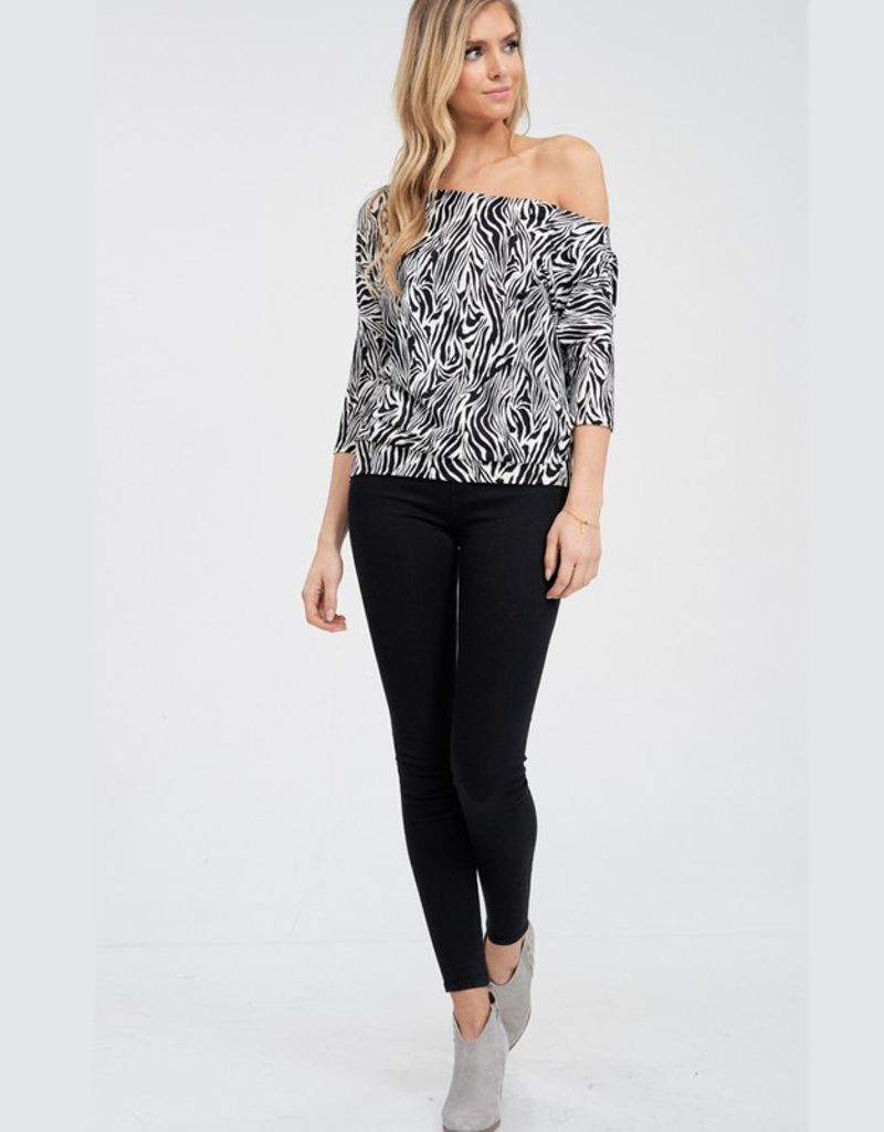 Off The Shoulder Zebra Print Knit Top