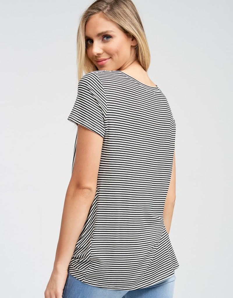 Striped Short Sleeve Gathered Twist Top