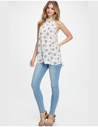 Floral Print Mock Neck Woven Top