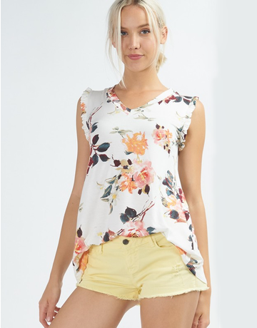 Floral Ruffle V-Neck Tank