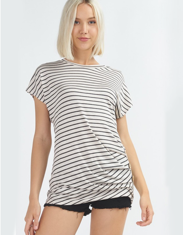Striped Tee With Buttons