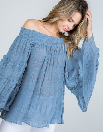 Off Shoulder Ruffle Sleeve Top