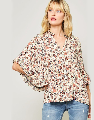 Floral Button Down With Ruffled Sleeves