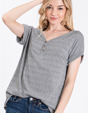 Slouchy Top W/ Button Detail