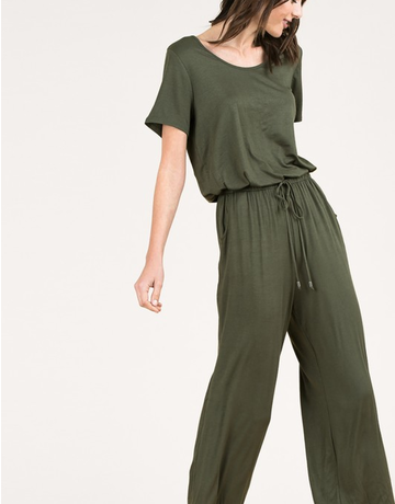 Short Sleeve Elastic Waist Jumpsuit