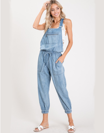 Zippered Pocket Chambray Overalls