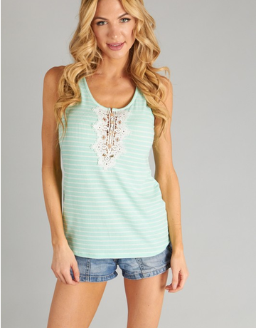 Stripe Tank w/ crochet patch front