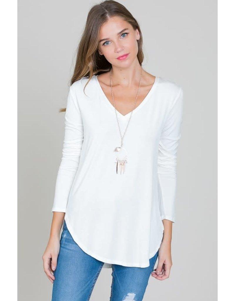 Modal Long Sleeve V-neck Top