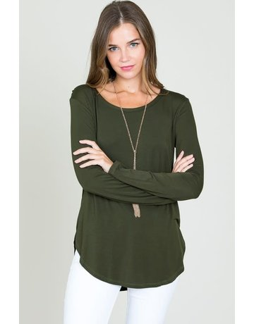 Modal long sleeve R neck top