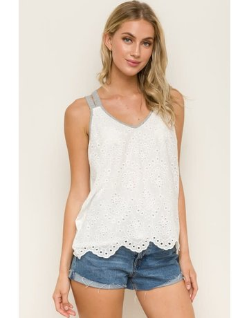 Criss Cross Tank with Grey Detailing