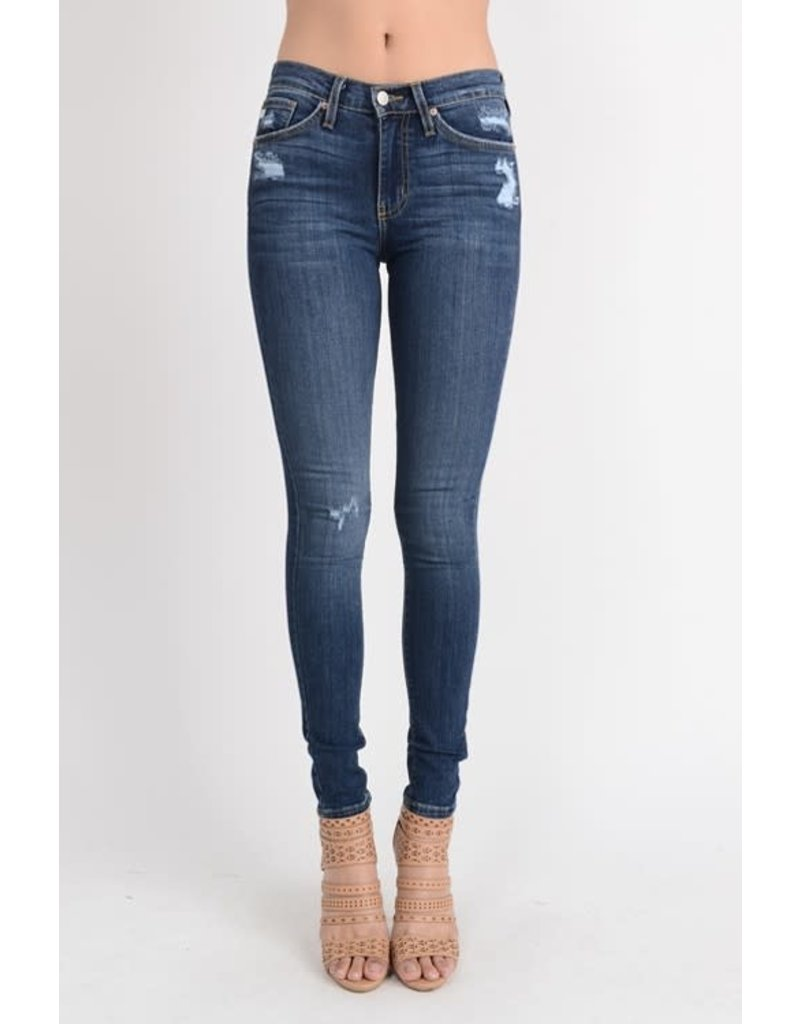 Mide-Rise Jeans w/ Rose Gold metal
