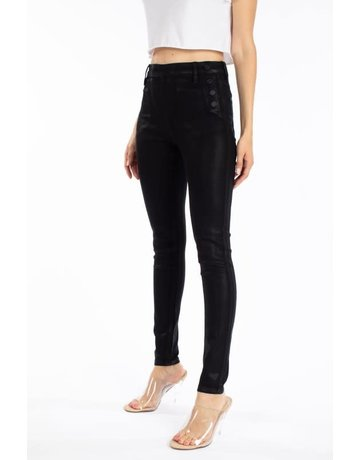 High Rise Faux Leather Button Detailed Jeans