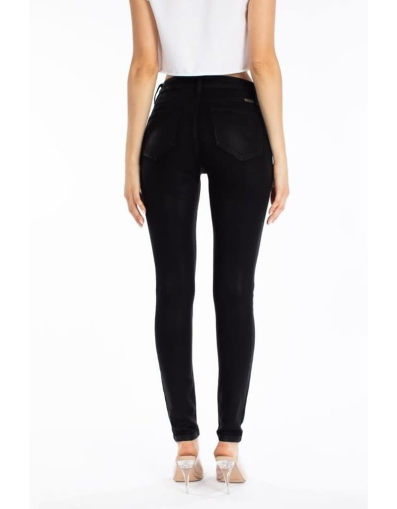 High Rise Faux Leather Button Jeans
